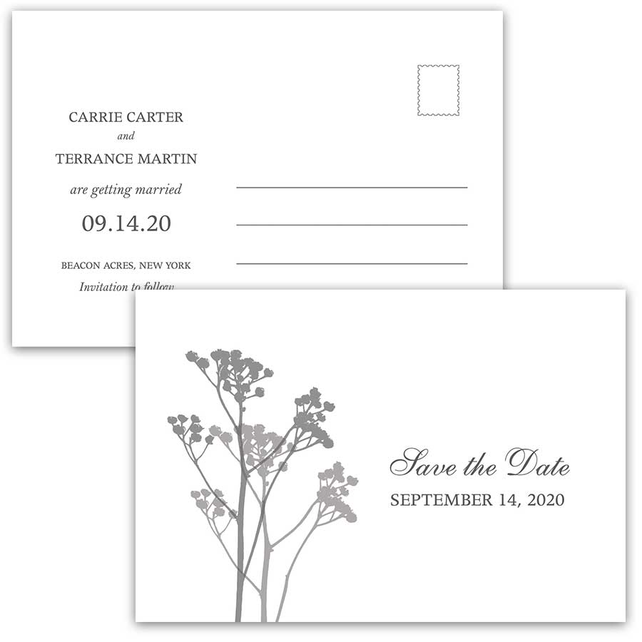 Wedding Save the Date Postcards Modern Floral Sprigs