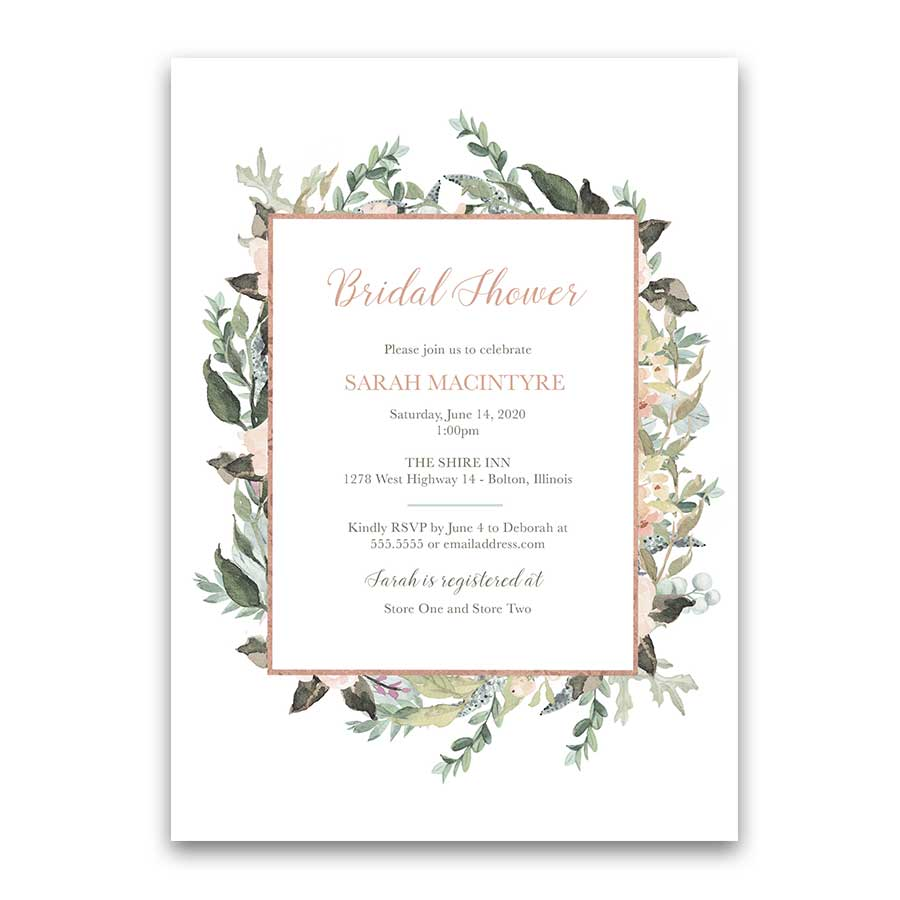peach blush floral greenery bridal shower invitations geometric