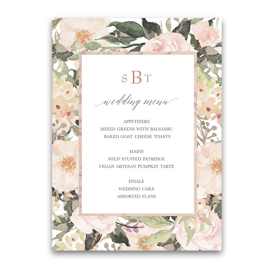 Floral Wedding Menu Blush Peach Greenery Design