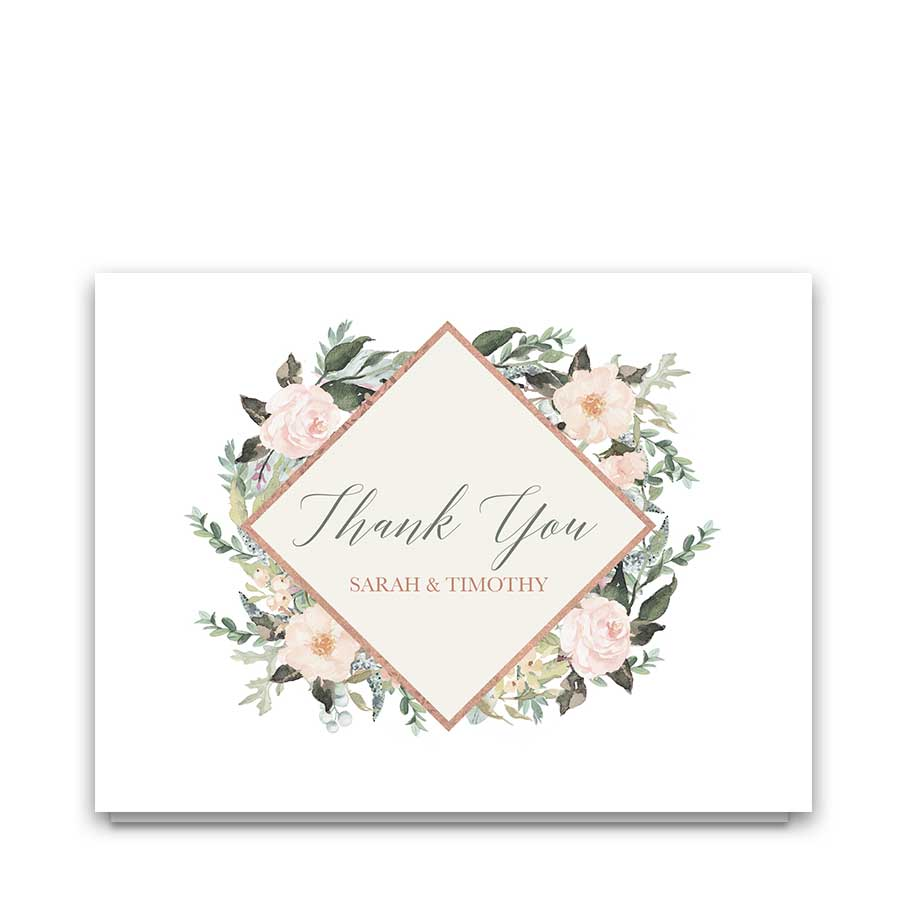 Blush Floral Wedding Thank You Cards Geometric Design