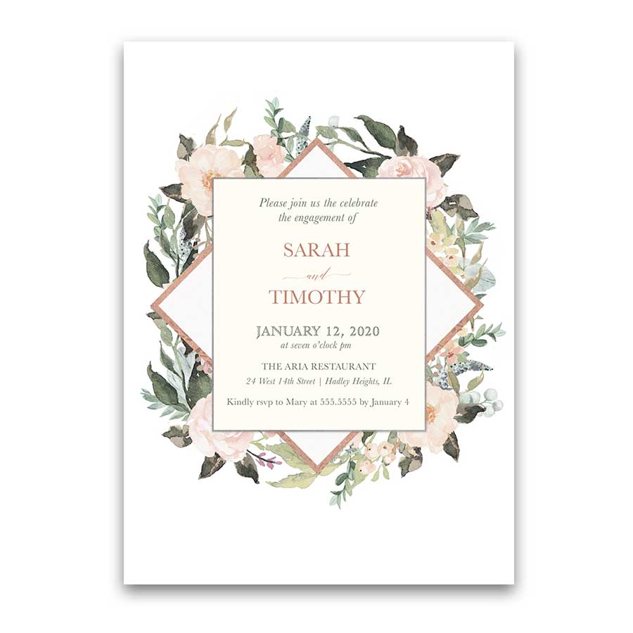 Blush Rose Gold Floral Geometric Engagement Party Invitation