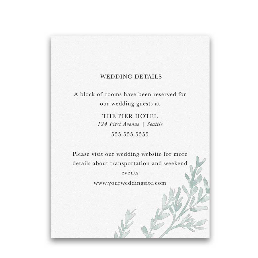 Greenery Wedding Additional Information Cards Dusty Blue