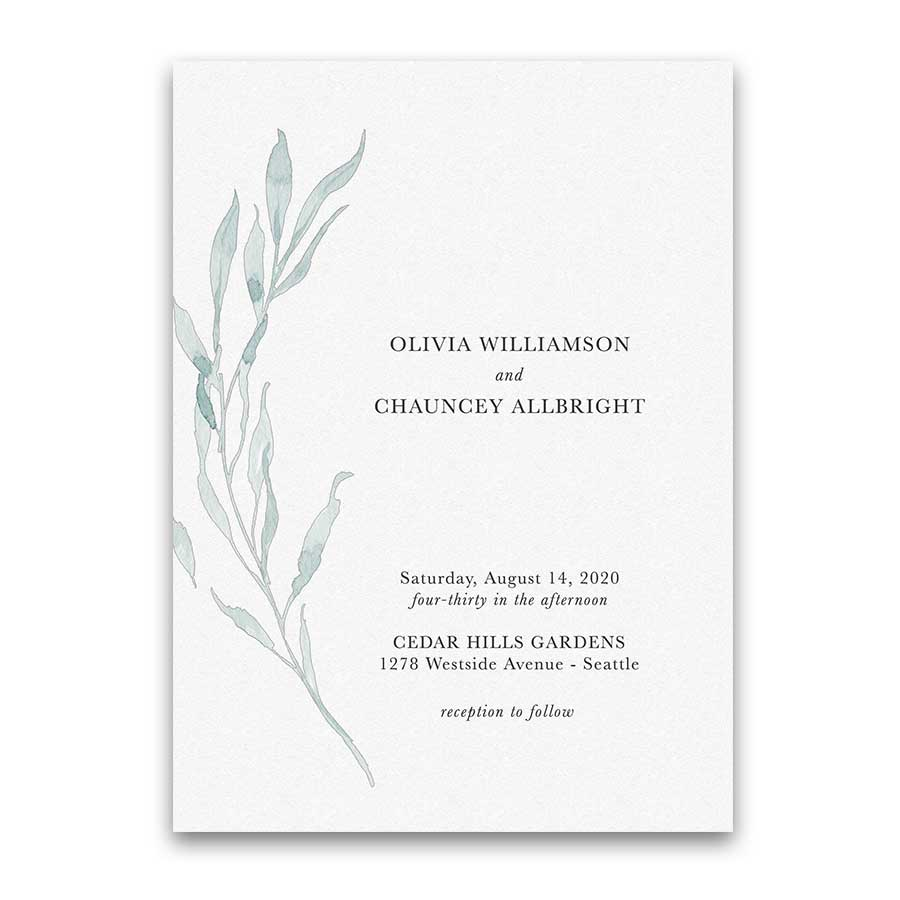 Greenery Wedding Invitations Dusty Blue Modern Kelp Design