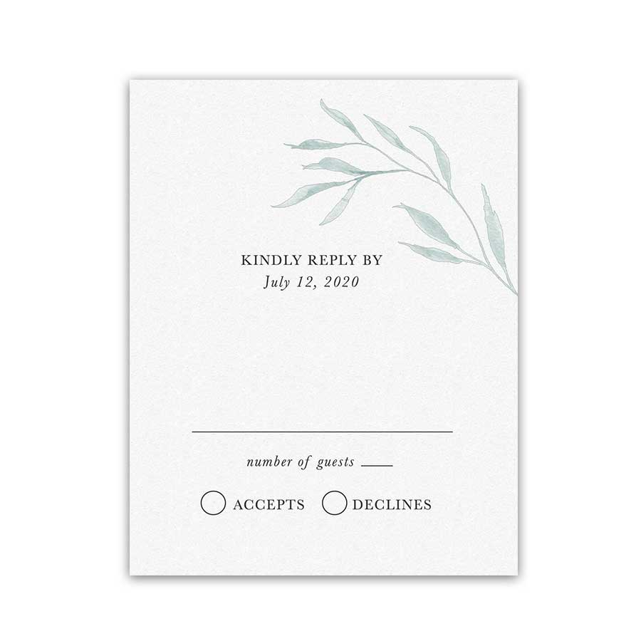 Wedding RSVP Card Greenery Dusty Blue Modern Kelp