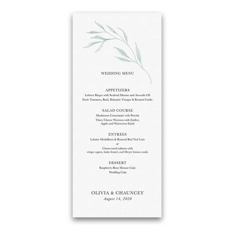 Custom Wedding Menu Greenery Sprigs Pale Blue Watercolor