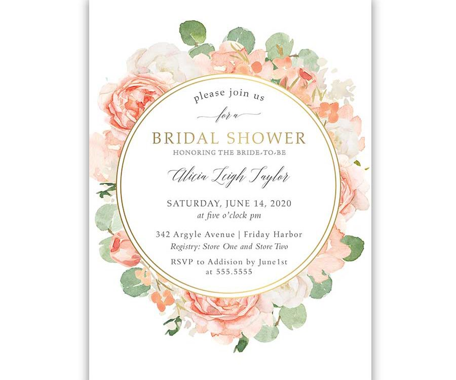 Floral Bridal Shower Invitations Peach Gold Floral Greenery