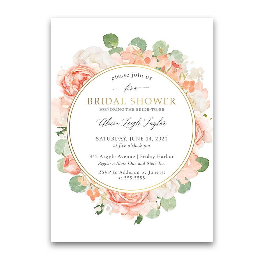 Floral Bridal Shower Invitations Orange Peach Gold Floral Greenery