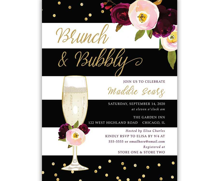 Brunch and Bubbly Bridal Shower Invitation Stripe Purple Floral