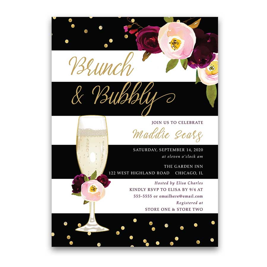 18048b4cf84f Brunch and Bubbly Bridal Shower Invitation Stripe Purple Floral ...