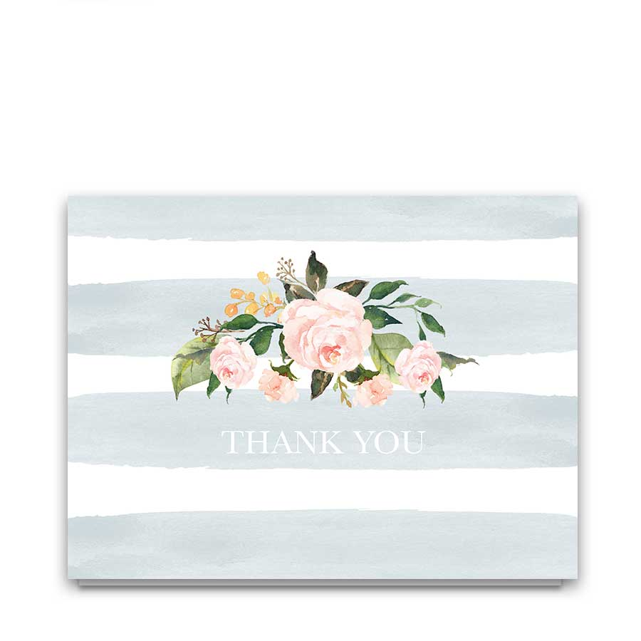 Chic Stripe Wedding Thank You Cards Pale Dusty Blue Floral