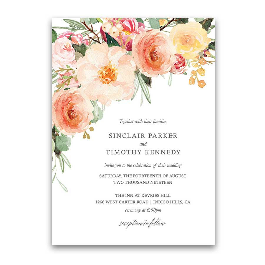 Peach Wedding Invitations Blush Peach Floral Greenery