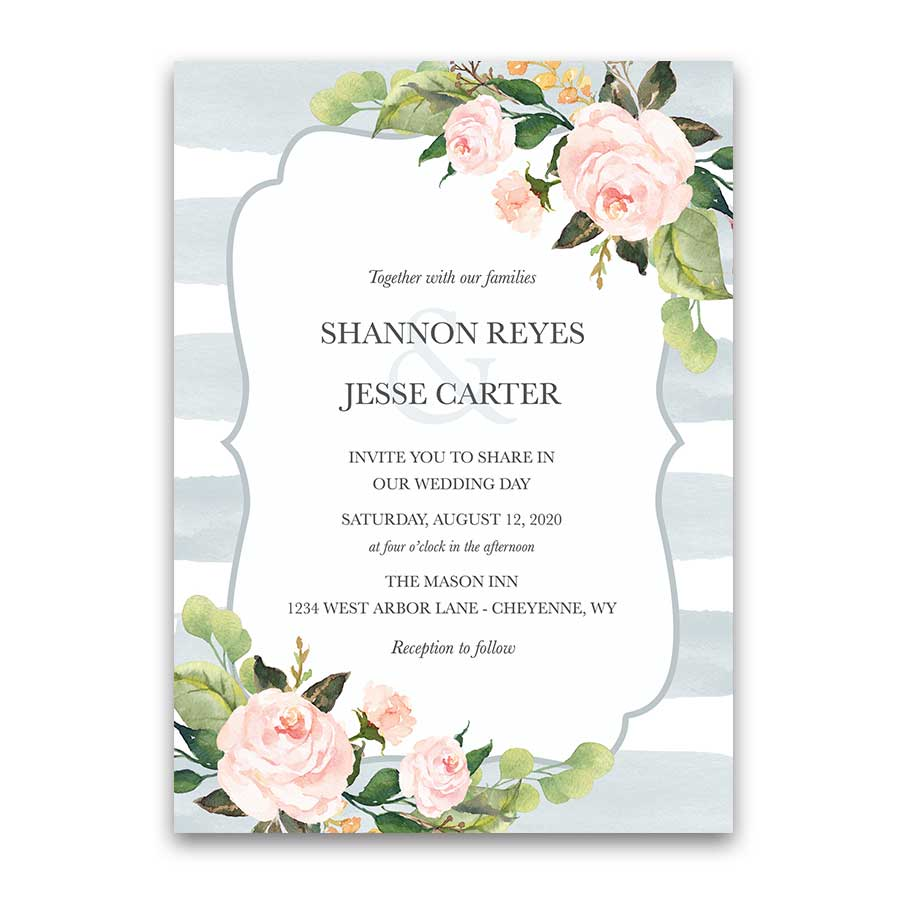 Chic Stripe Wedding Invitations Pale Dusty Blue Floral