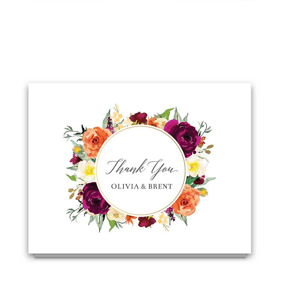 Floral Wedding Thank You Card Plum Coral Bouquet Watercolor