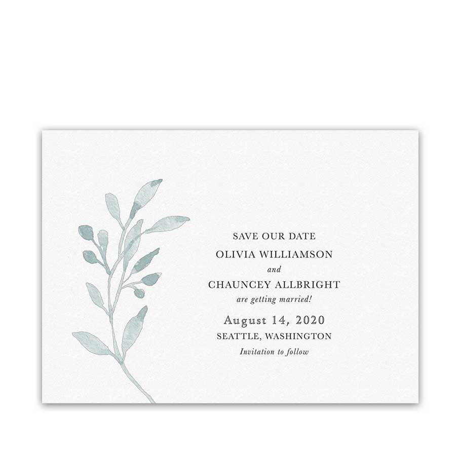 Greenery Wedding Save the Date Dusty Blue Watercolor