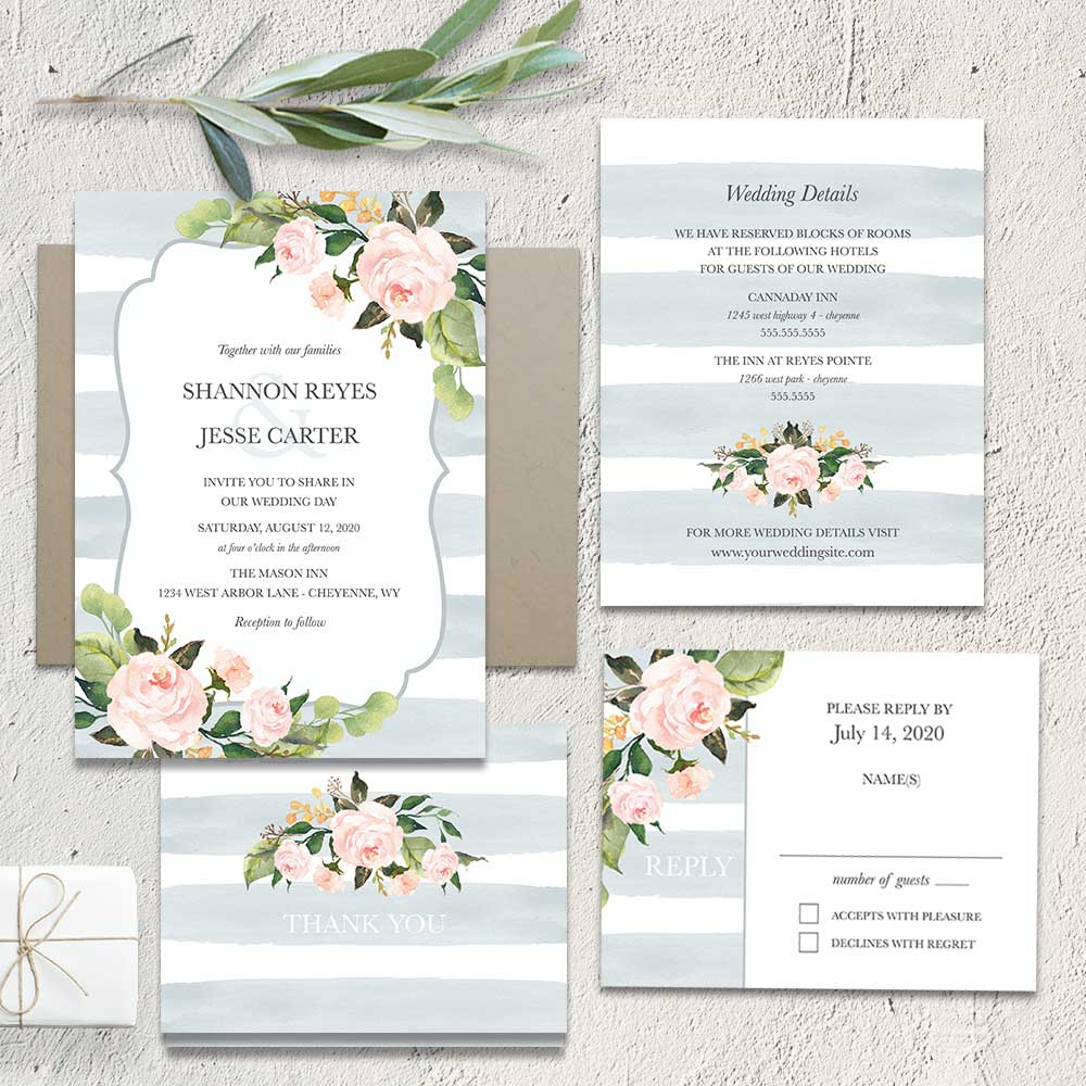 Chic Stripe Wedding Invitations Pale Dusty Blue Floral