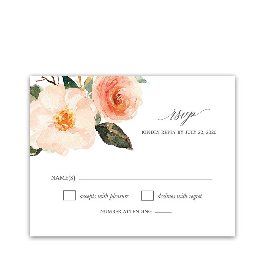 Wedding RSVP Cards Peach Watercolor Floral Greenery