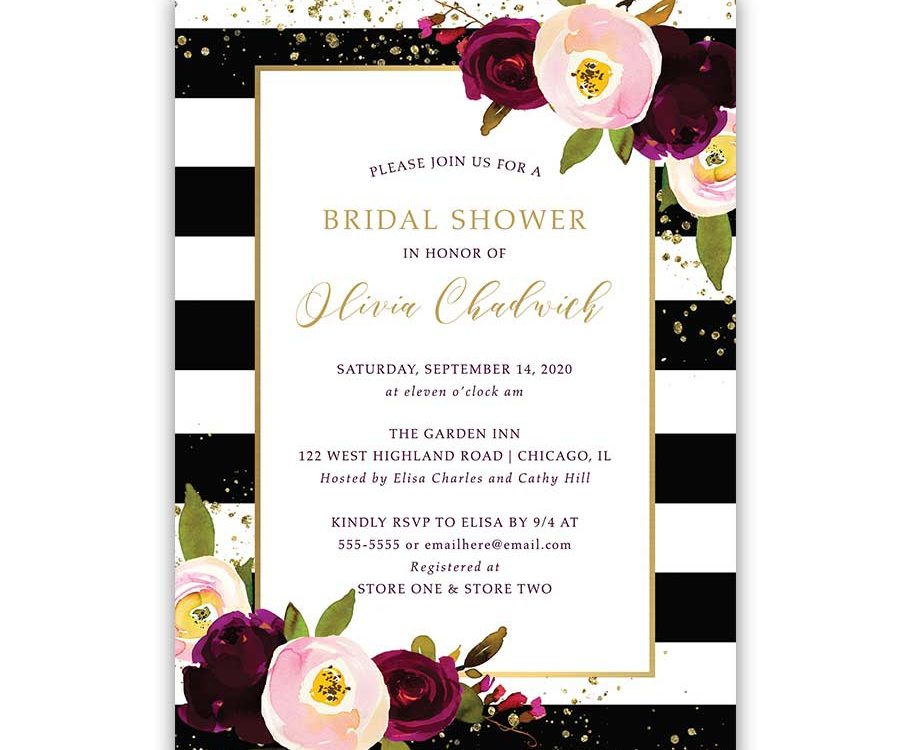Chic Bridal Shower Invitation Stripe Purple Plum Floral