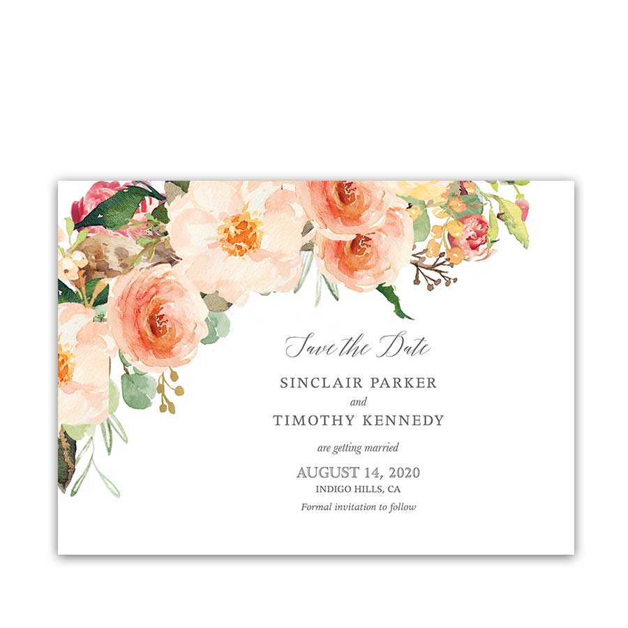 Wedding Save the Date Card Blush Peach Floral Greenery