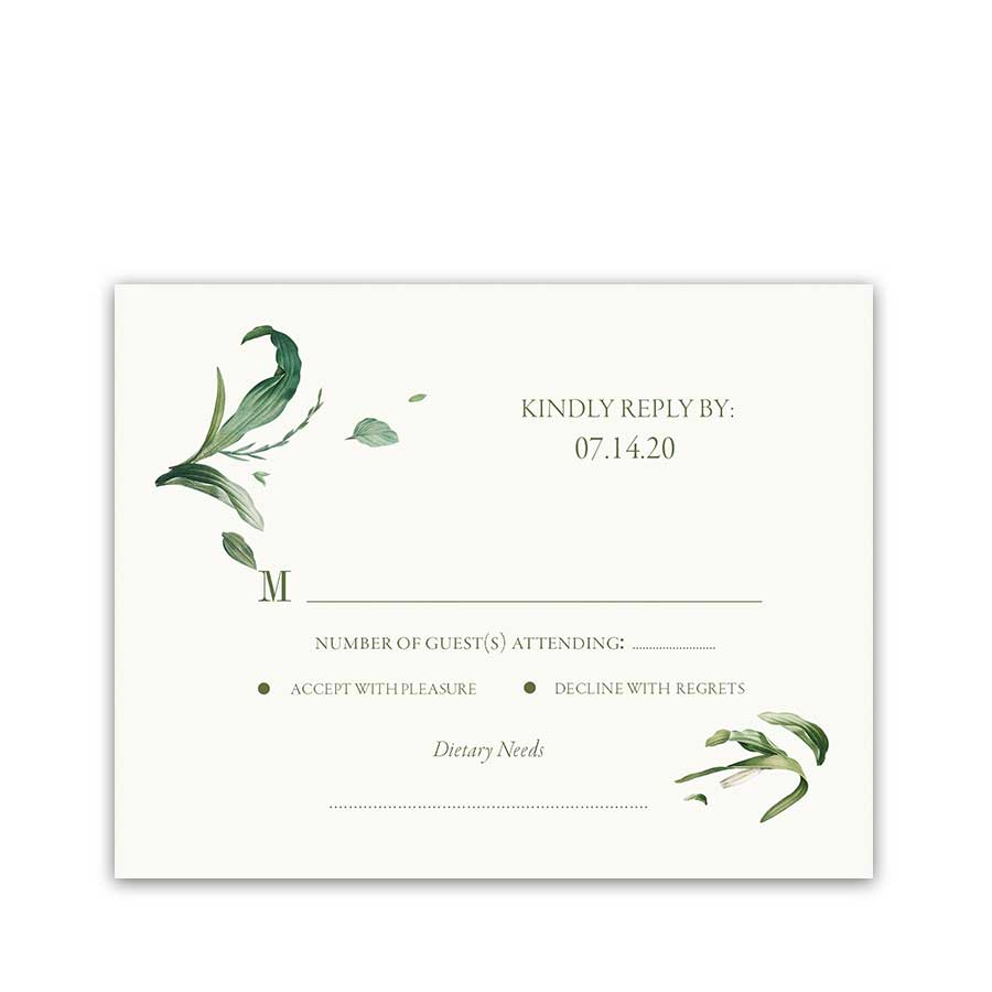 Greenery Wedding RSVP Cards Floral Wreath Bohemian Chic