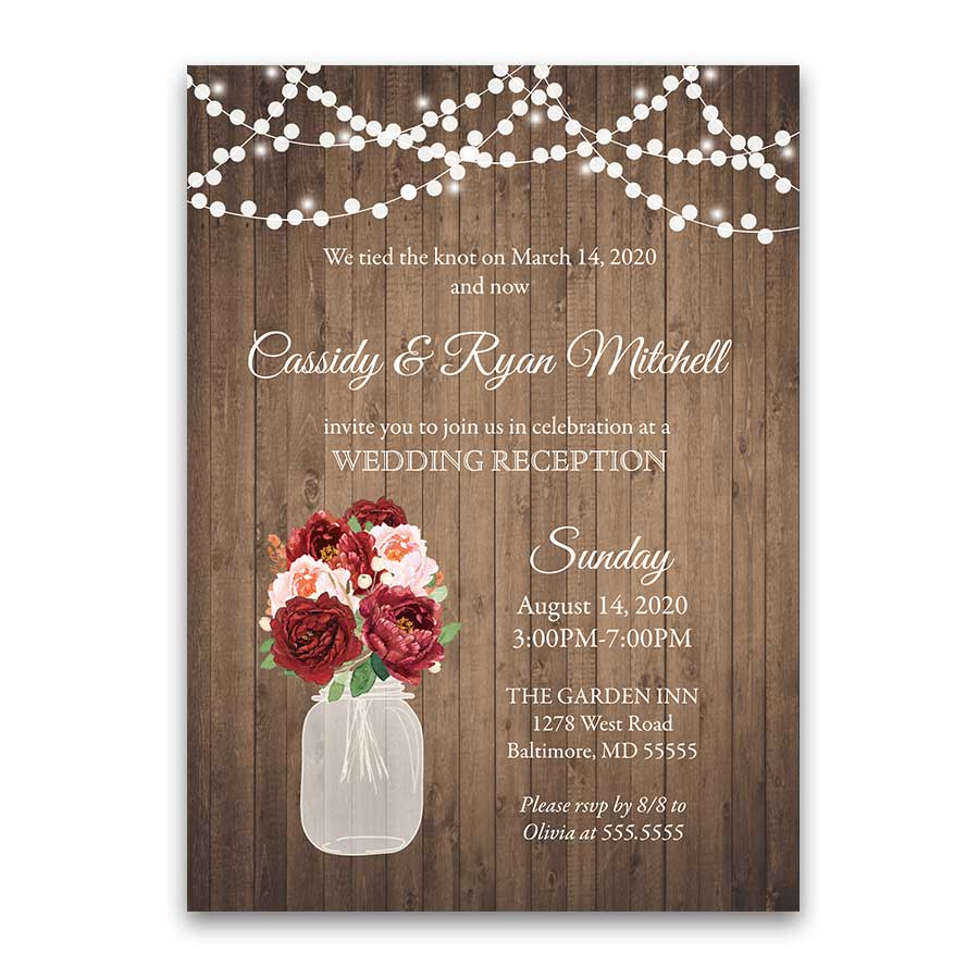 I DO BBQ Reception Only Invitation Rustic Mason Jar Wood