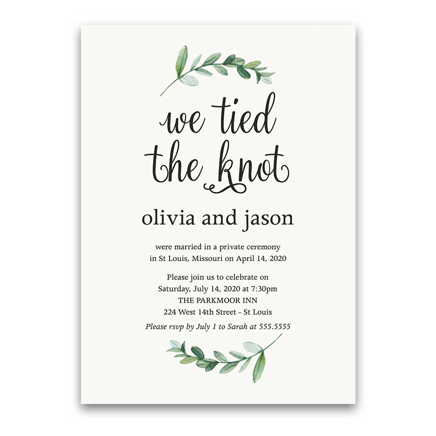 Reception Only Wedding Invitations Reception Only Greenery