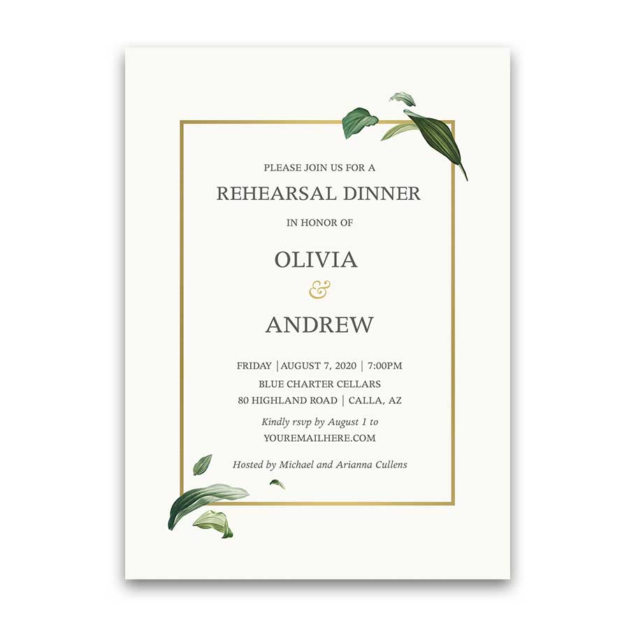 Unique Wedding Rehearsal Dinner Invitation with Elegant Greenery