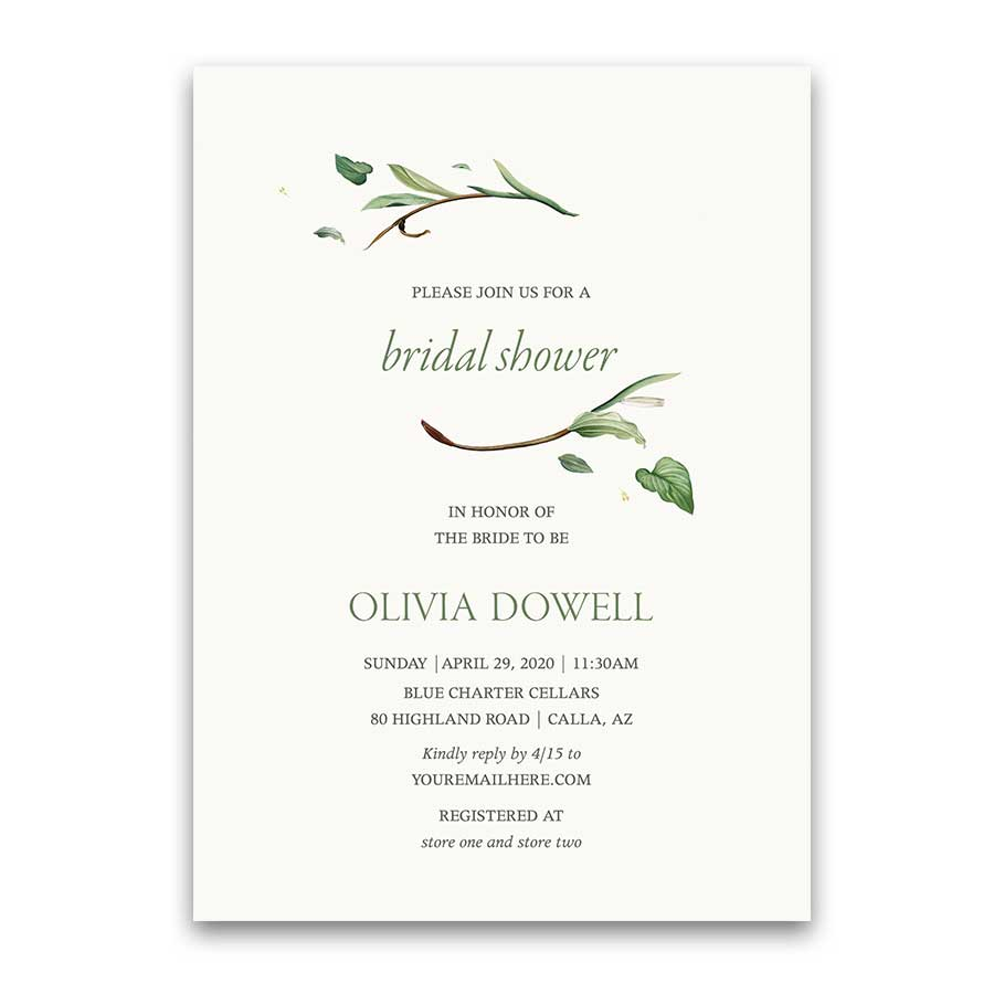Greenery Bridal Shower Invitation Floral Green Bohemian Chic