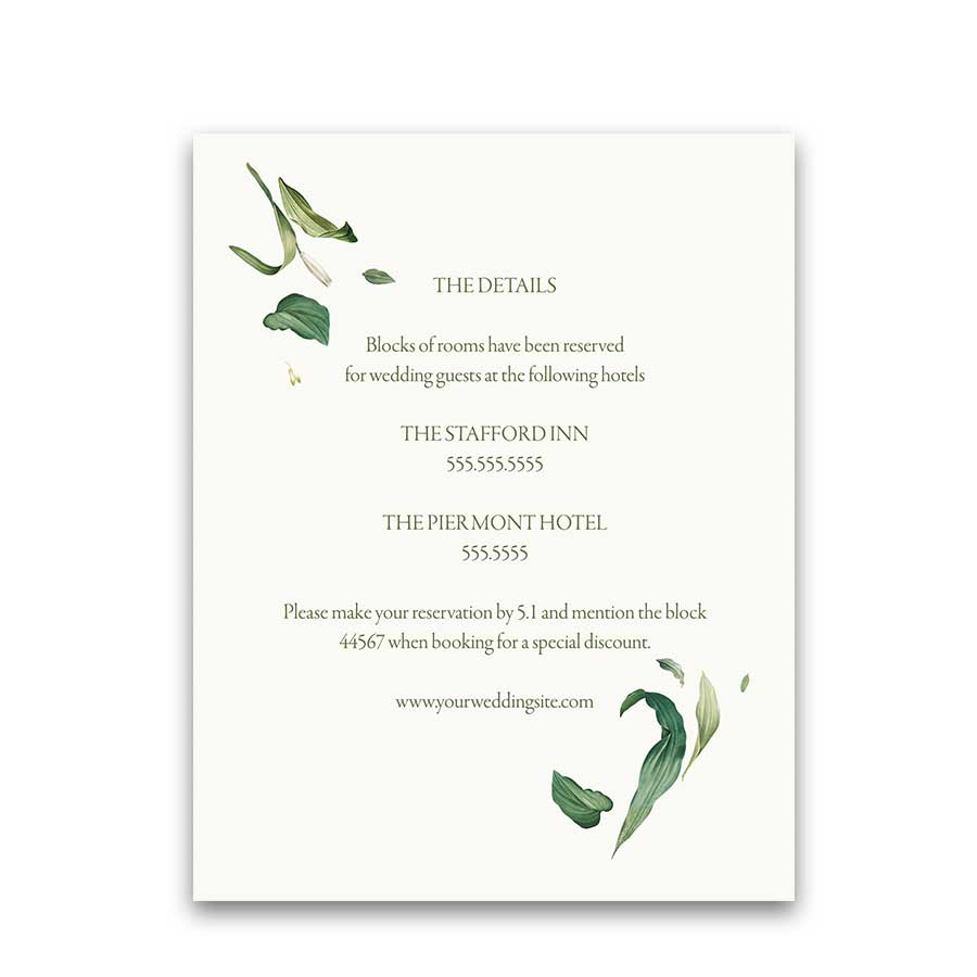 Greenery Wedding Additional Information Cards Floral Wreath