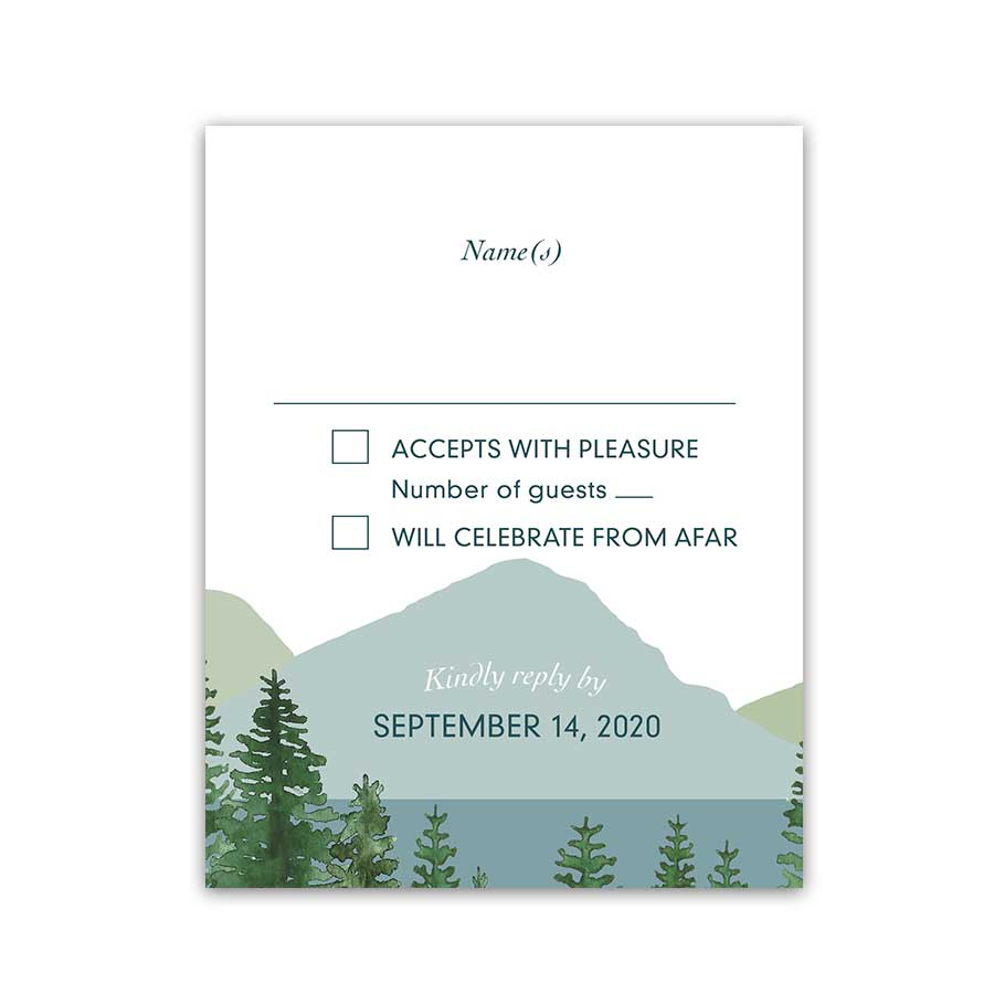 Mountain Wedding Reply Card Outdoor Adventure Wedding