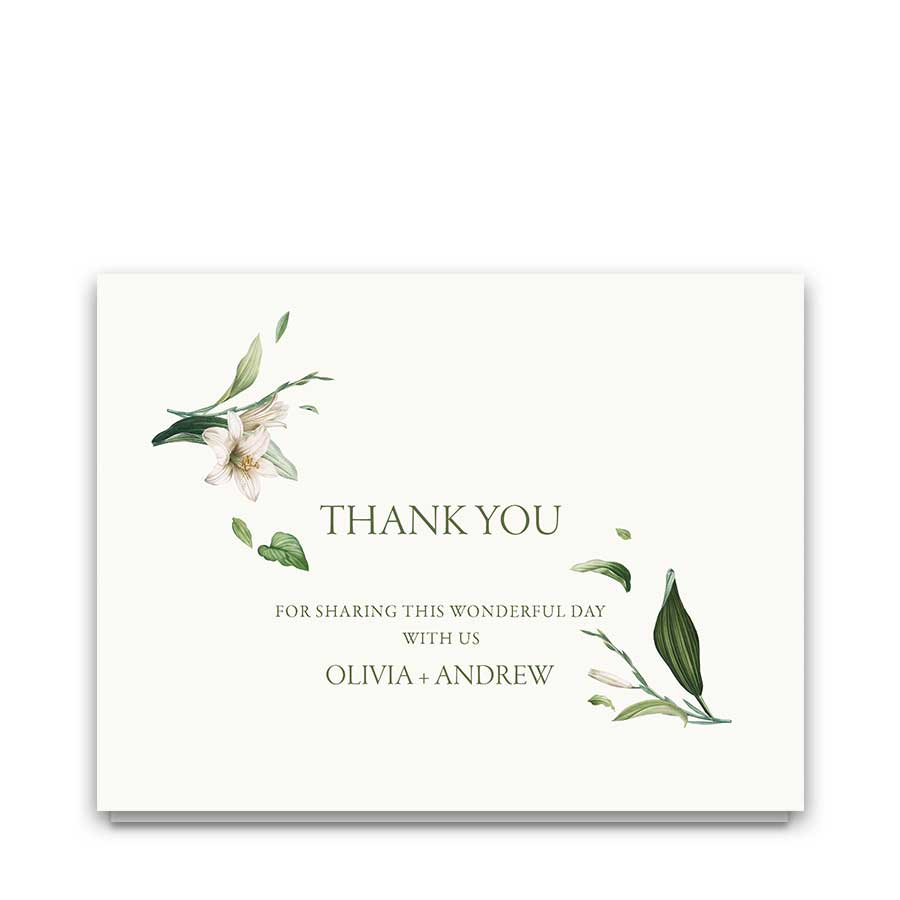 Greenery Wedding Thank You Card Botanical Watercolor