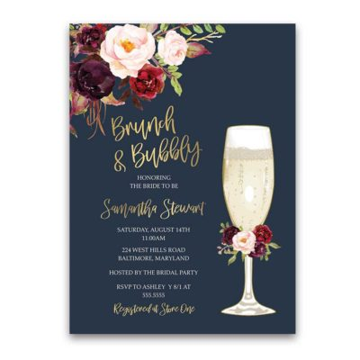 5b562f022586 Brunch and Bubbly Bridal Shower Invitation Gold Burgundy Floral