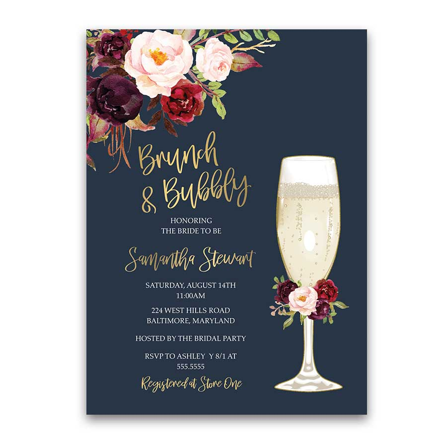 Brunch and Bubbly Bridal Shower Invitation Gold Burgundy Floral