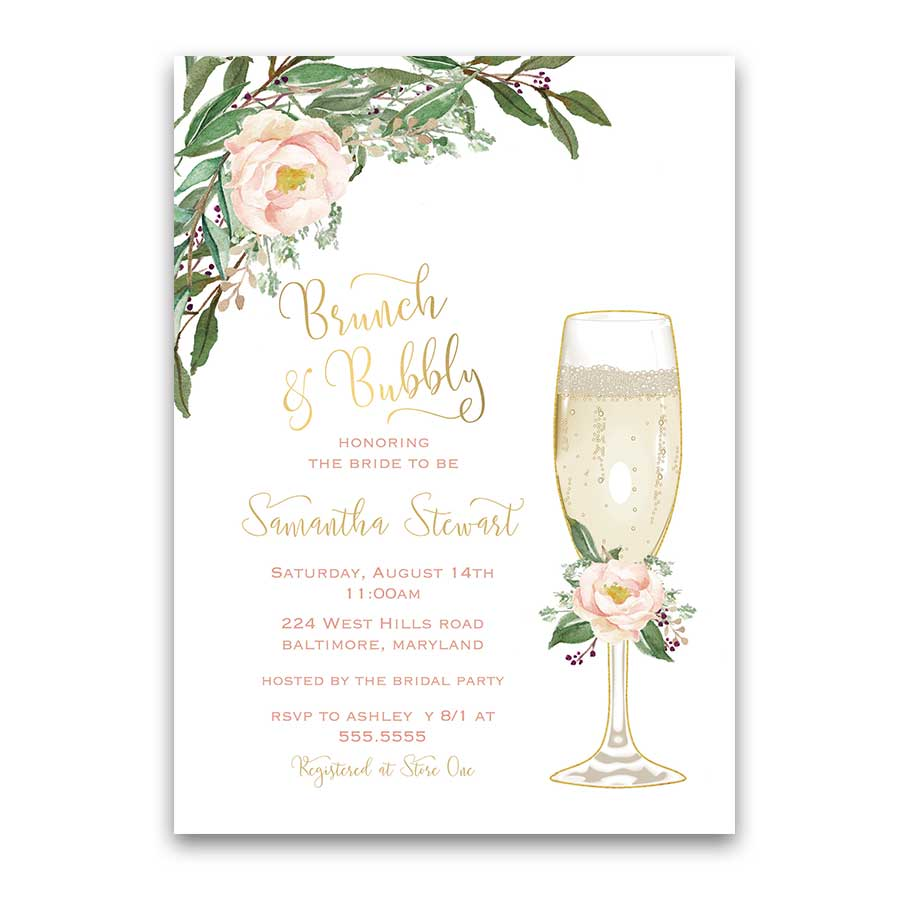 Brunch and Bubbly Bridal Shower Invitation Gold Blush Floral