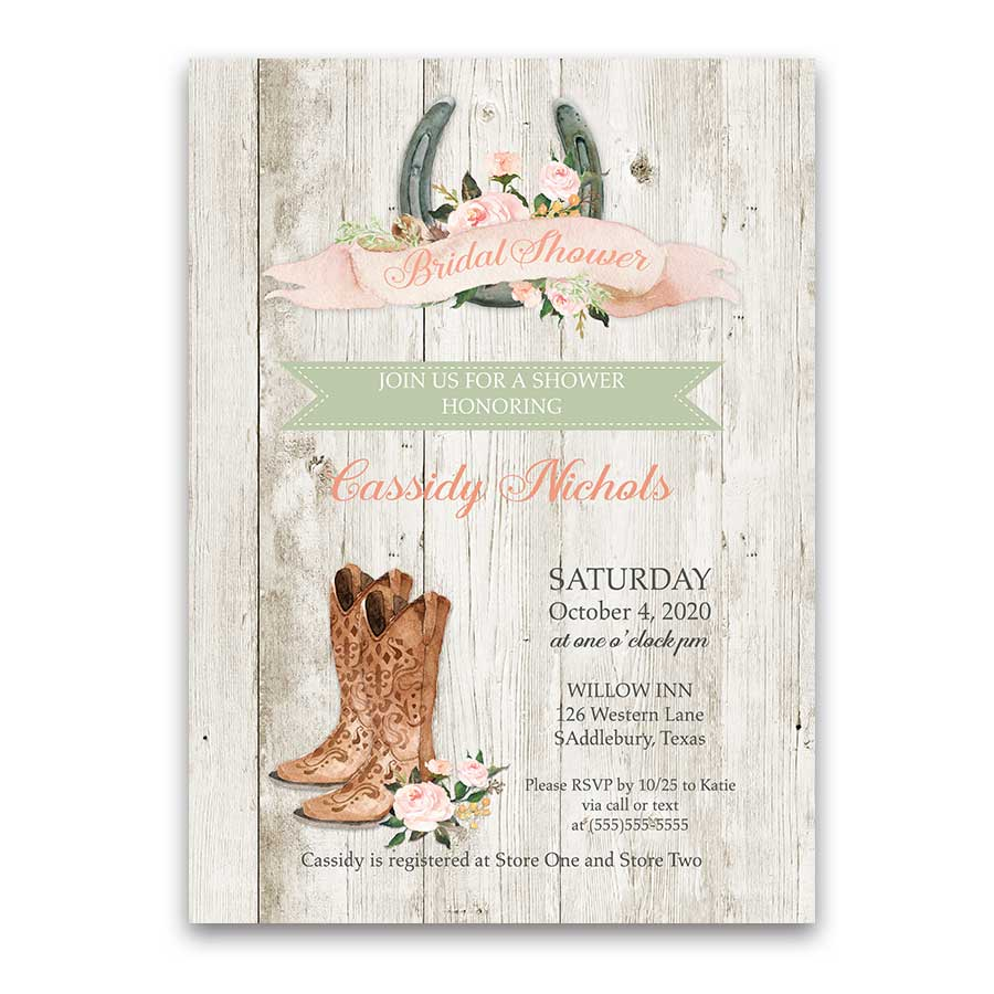 Western Bridal Shower Invitation Cowgirl Boots and Horseshoes