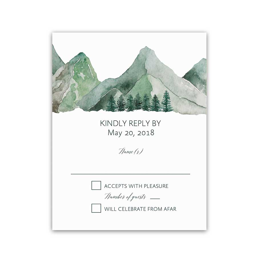 Mountain Wedding RSVP Card Watercolor Reply Card