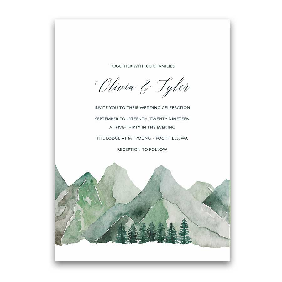 mountain wedding invitation watercolor mountain template