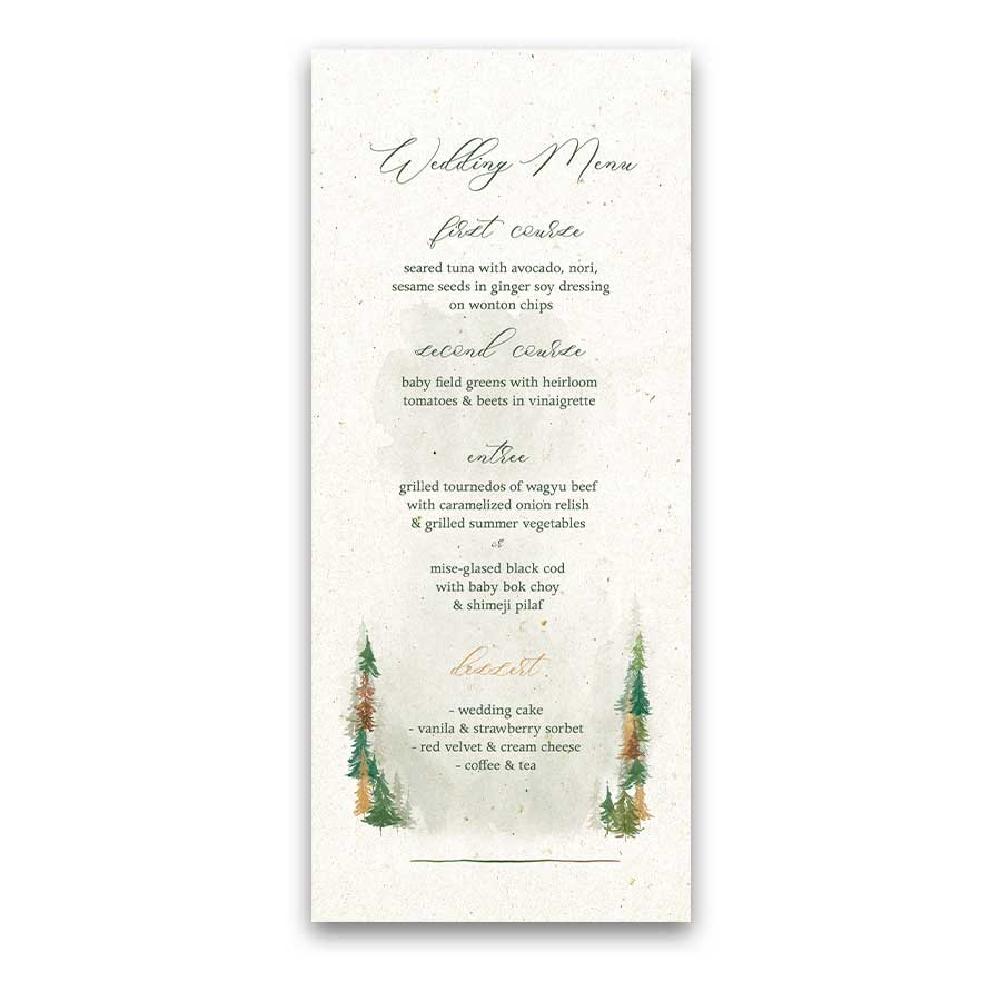 fall wedding menu ideas with a woodland forest and watercolor trees fall wedding menu ideas with a woodland
