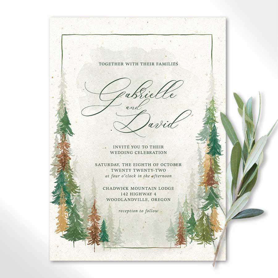 Oregon Wedding Custom Save the Dates Outdoor Wedding invitations Custom Wedding Invitations Forest Wedding Invite