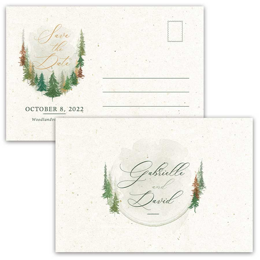 Woodland Forest Wedding Save the Date Card Postcards