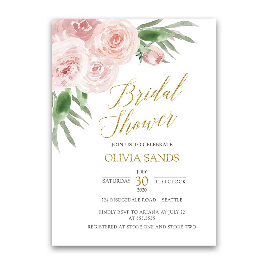 Bridal Shower Invite Blush Floral Sparkly Gold with Greenery