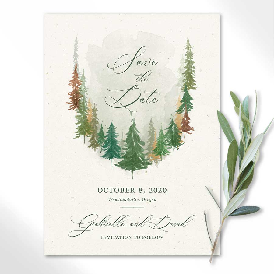 Woodland Wedding Save the Date Cards Watercolor Forest