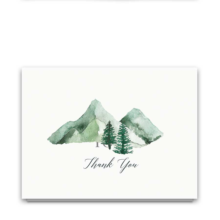 Wedding Thank You Card Watercolor Mountains and Trees