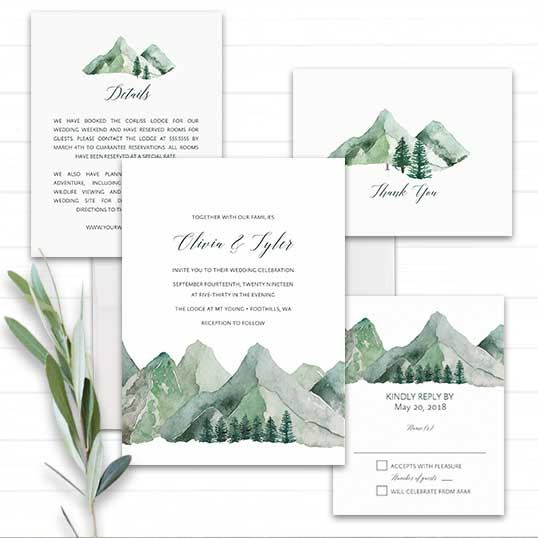 Mountain Wedding Invitation Watercolor Template
