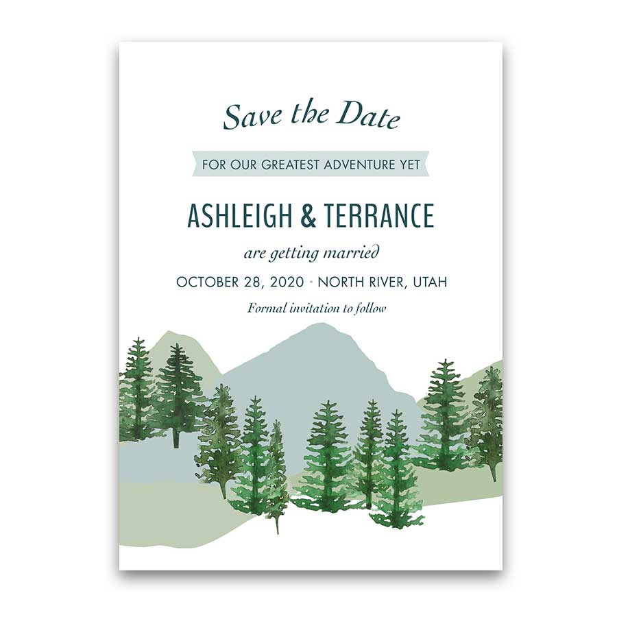 Mountain Wedding Save the Date Cards Woodsy Watercolor