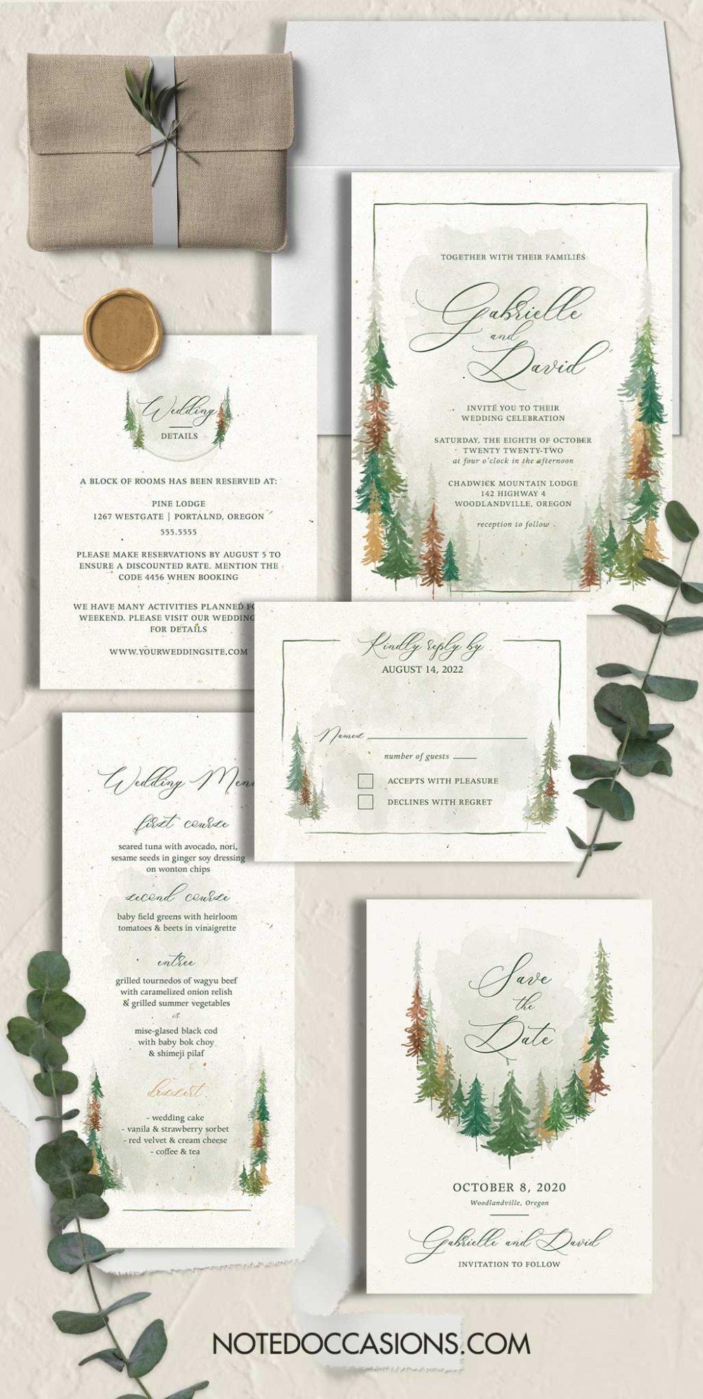 Woodland Forest Wedding Invitations