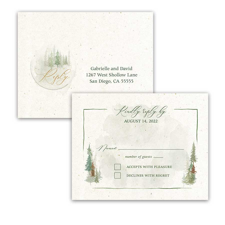 Woodland Wedding RSVP Postcard with Watercolor Trees.