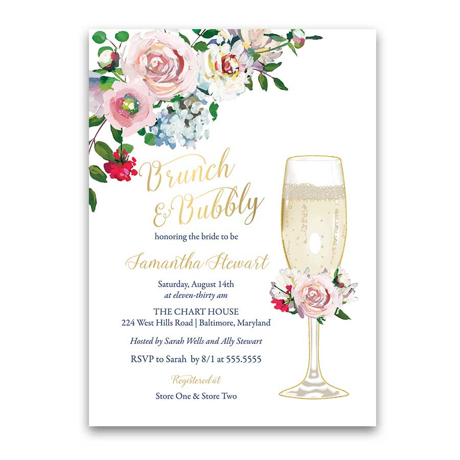 Brunch Bridal Shower Invitation Floral Pink Blush Gold Invite