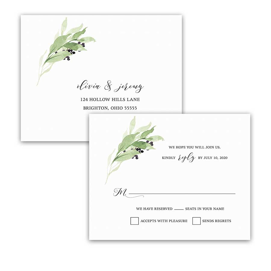 Vineyard Wedding RSVP Postcard Greenery Wreath Purple Berry