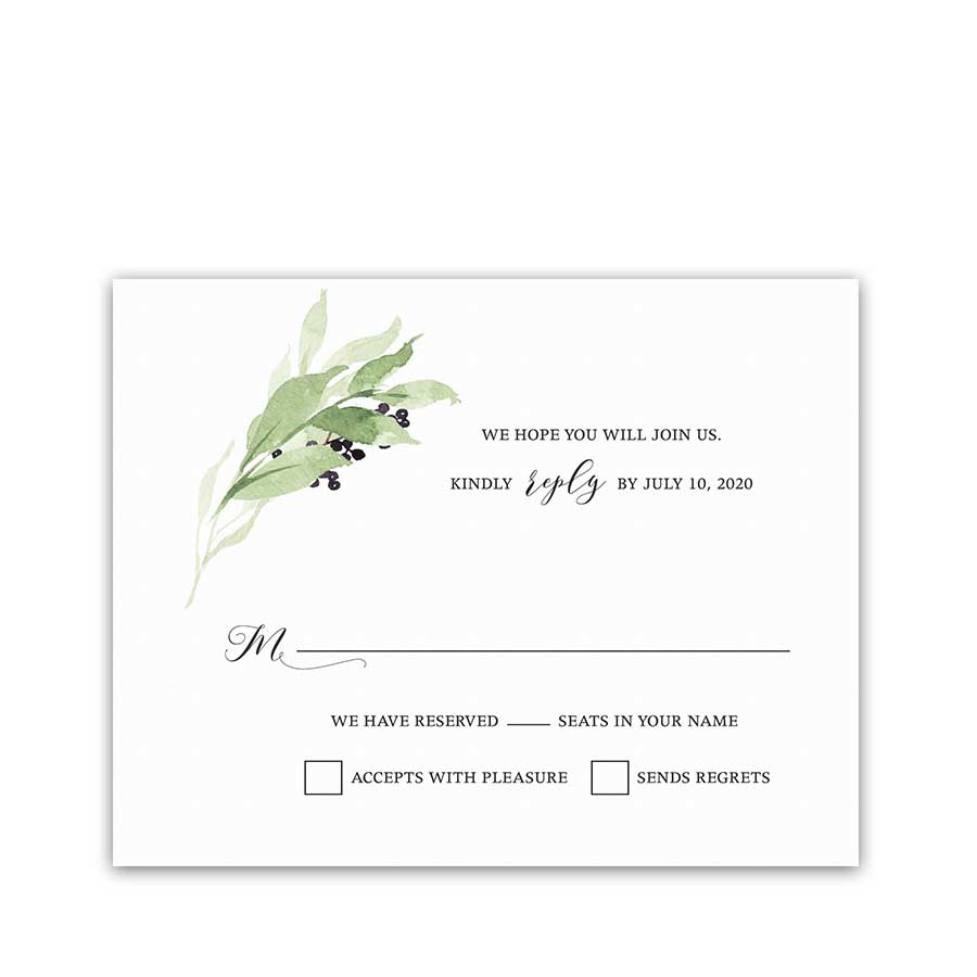 Vineyard Wedding RSVP Card Greenery Wreath Purple Wine Berry