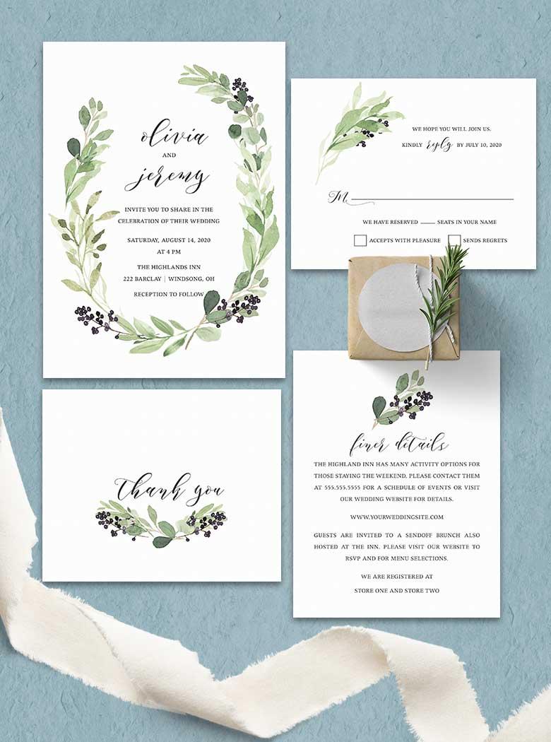 Vineyard Wedding Enclosure Details Card Greenery Wreath